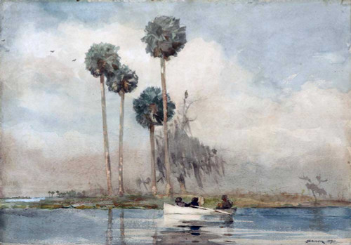 Art prints of The White Rowboat, Saint John's River by Winslow Homer