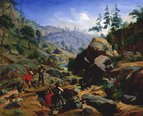 Art prints of Miners in the Sierras by Charles Christian Nahl