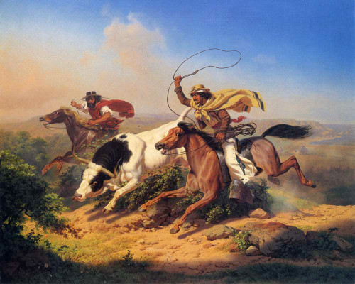 Art prints of Vaqueros Roping a Steer, 1866 by Charles Christian Nahl