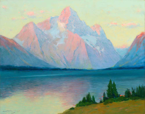 Art prints of Sunrise on Mount Moran from Jackson Lake on the Yellowstone by Charles Partridge Adams