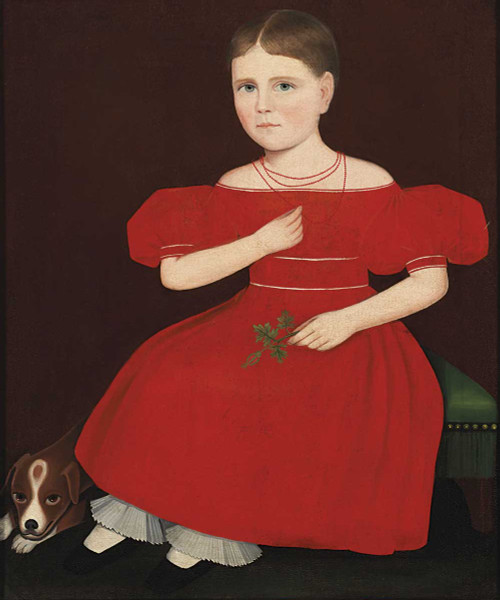 Art prints of Girl in Red Dress with a Dog by Ammi Phillips