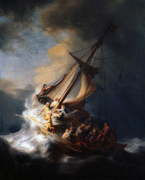 Art prints of Christ in the Storm on the Lake of Galilee by Rembrandt van Rijn