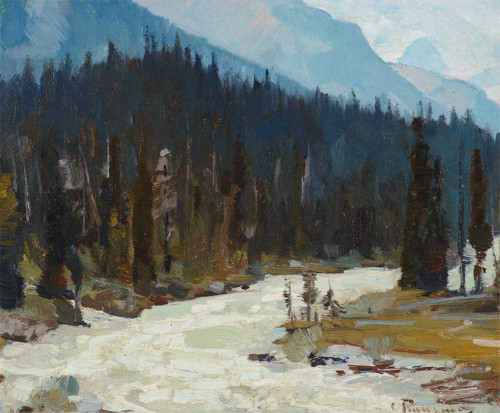 Art prints of Mountain Stream, Alberta by Carl Rungius