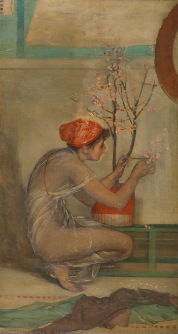Art prints of Girl with Cherry Blossom by James Abbott McNeill Whistler