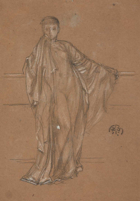 Art prints of Draped Figure at a Railing by James Abbott McNeill Whistler