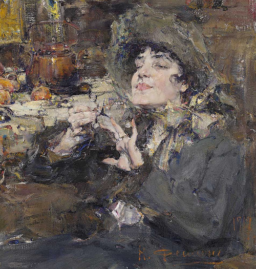 Art prints of The Manicure Portrait of Mademoiselle Girmond by Nicolai Fechin