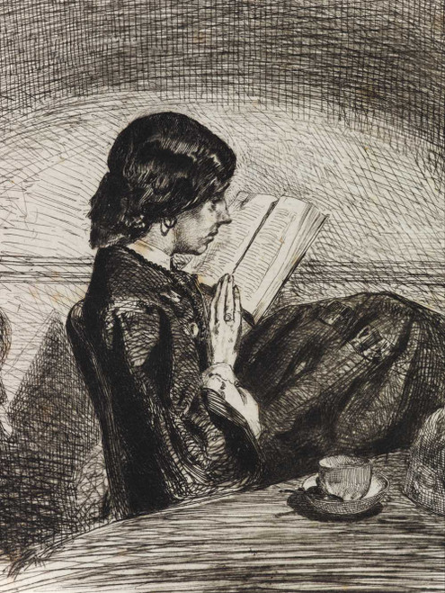 Art prints of Reading by Lamplight II by James Abbott McNeill Whistler