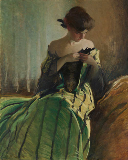 Art prints of Study in Black and Green by John White Alexander