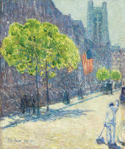 Art prints of Just Off the Avenue, Fifty-Third Street, May, 1916 by Childe Hassam