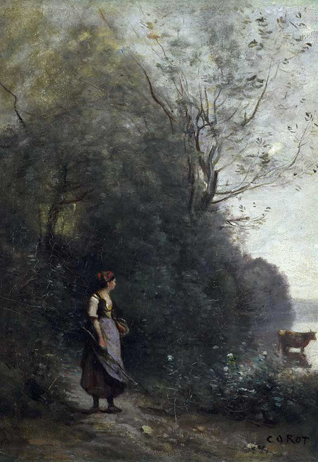 Art prints of Peasant Woman Grazing a Cow by the Edge of a Forest by Camille Corot