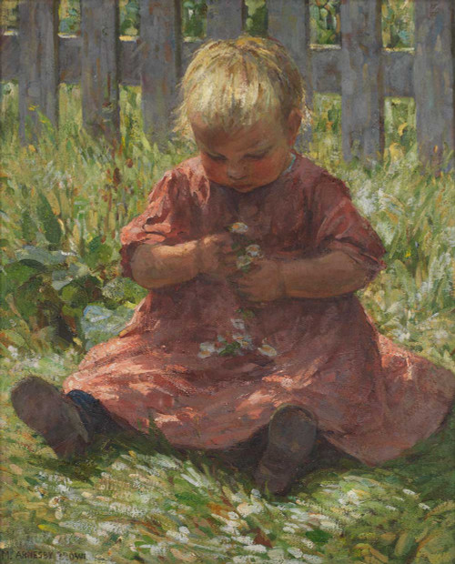 Art prints of Child with Daisies by Mia Arnesby Brown