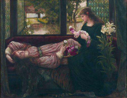 Art prints of A Wreath of Roses by Marie Spartali Stillman