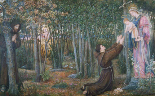 Art prints of How the Virgin Came to Brother Conrad in Offia and Laid her Son in his Arms by Marie Spartali Stillman
