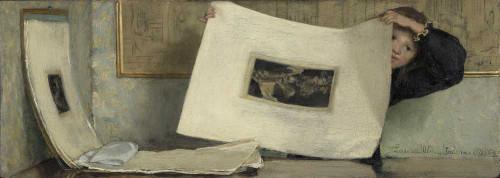 Art prints of Anna Leafing through a Portfolio of Prints by Laura Theresa Alma-Tadema
