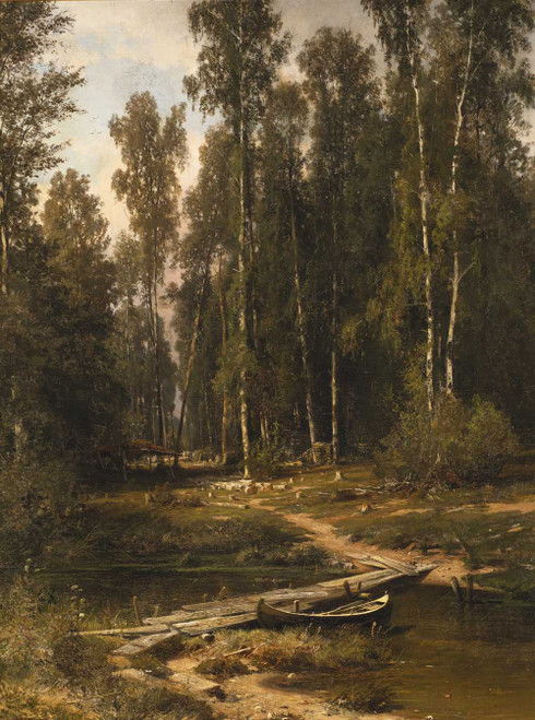 Art prints of At the Edge of a Birch Grove (Bridge to a Lumbering Site) by Ivan Shishkin