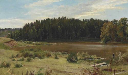 Art prints of River on the Edge of a Wood by Ivan Shishkin