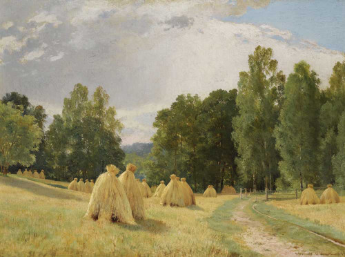 Art prints of Haystacks, Preobrazhenskoe by Ivan Shishkin