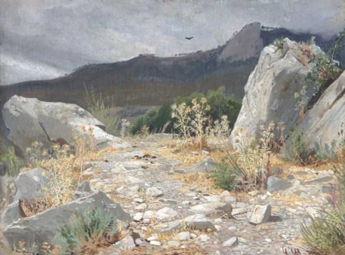 Art prints of Mountain Path, Crimea by Ivan Shishkin