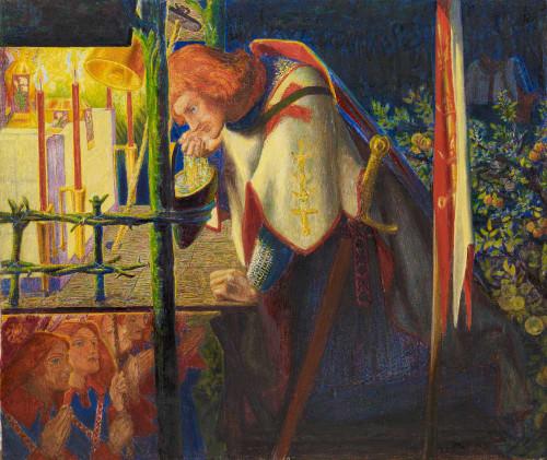 Art prints of Sir Galahad at the Ruined Chapel by Dante Gabriel Rossetti
