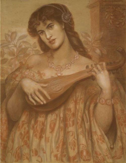 Art prints of The Mandolin Player by Dante Gabriel Rossetti