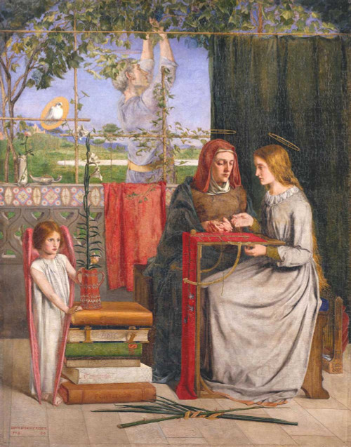 Art prints of The Girlhood of Mary Virgin by Dante Gabriel Rossetti