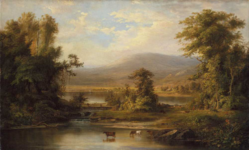 Art prints of Landscape with Cows Watering in a Stream by Robert S. Duncanson