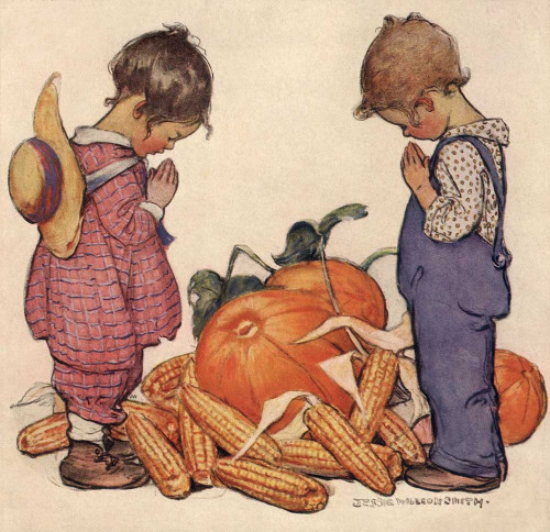 Giclee prints of Little Boy and Girl Praying, Thanksgiving Prayer by Jessie Willcox Smith