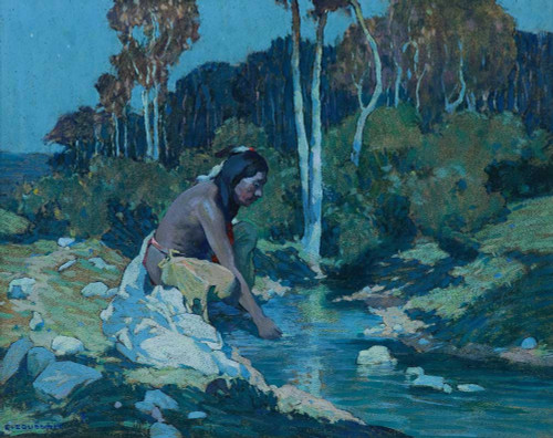 Giclee prints of The Indian in the Creek, Taos, Moonlight by Eanger Irving Couse