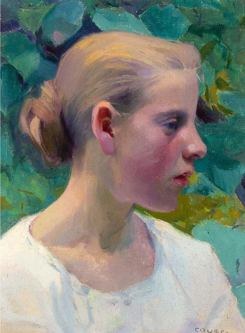 Giclee prints of Blond French Girl, profile by Eanger Irving Couse