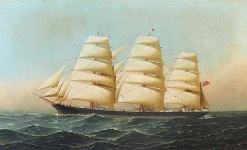 Giclee prints of The Clipper Ship, Laomene Under Full Sale by Antonio Jacobsen