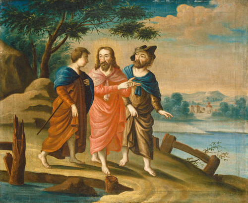 Art Prints of Christ on the Road to Emmaus by 18th Century American Artist