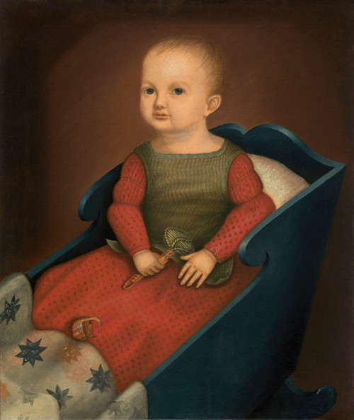 Art Prints of Baby in a Blue Cradle by 19th Century American Artist
