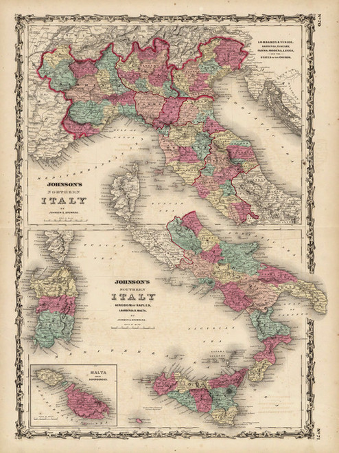 Art Prints of Northern and Southern Italy, 1860 (2905047) by A.J. Johnson