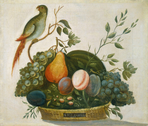 Art Prints of Basket of Fruit with Parrot by A.M. Randall