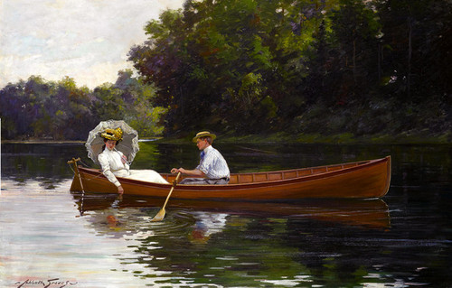 Art Prints of Rowing to Picnic Rock by Abbott Fuller Graves