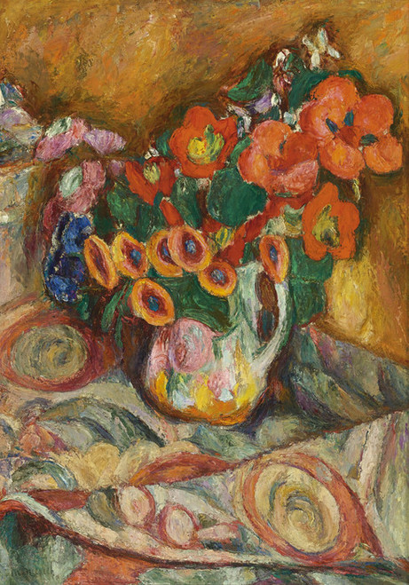 Art Prints of Flowers on a Floral Tablecloth by Abraham Manievich