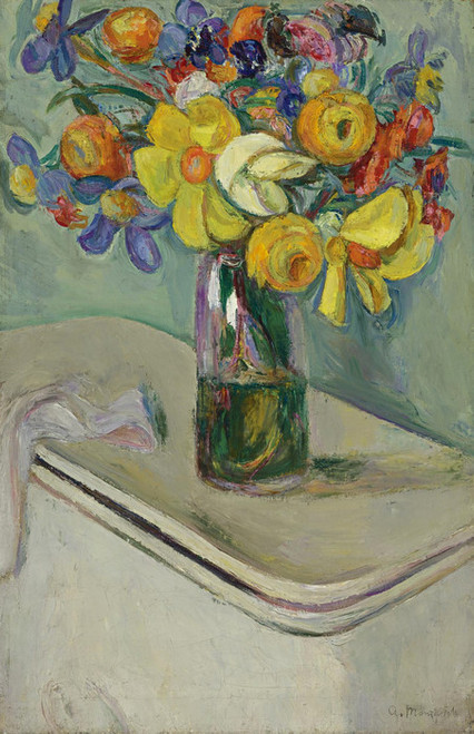 Art Prints of Flower Vase on a Hamper by Abraham Manievich