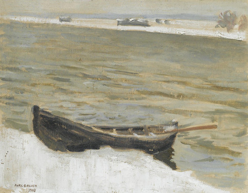 Art Prints of Boat Moored on a River Bank by Akseli Gallen-Kallela