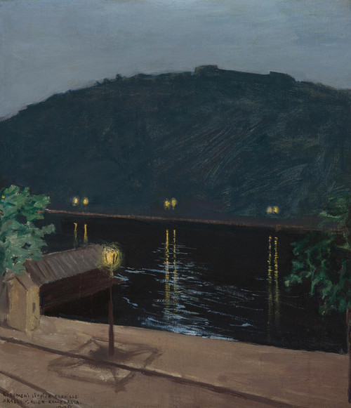 Art Prints of Night Lights Reflecting Off the Danube by Akseli Gallen-Kallela