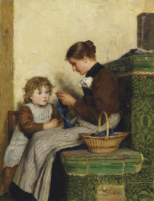 Art Prints of Bertha Gugger with Daughter, 1898 by Albert Anker