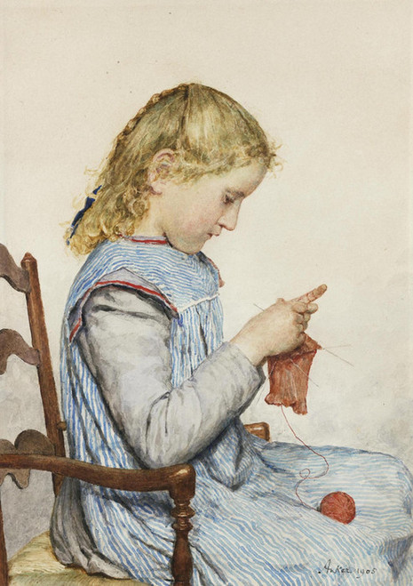Art Prints of Girl Knitting, 1905 by Albert Anker