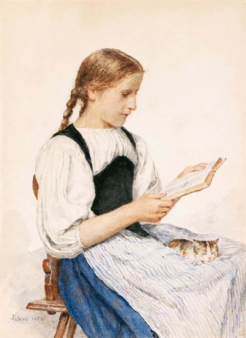 Art Prints of Girl Reading with Kitten, 1904 by Albert Anker