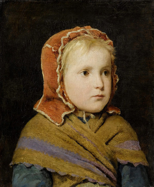 Art Prints of Girl in a Red Cap, 1866 by Albert Anker