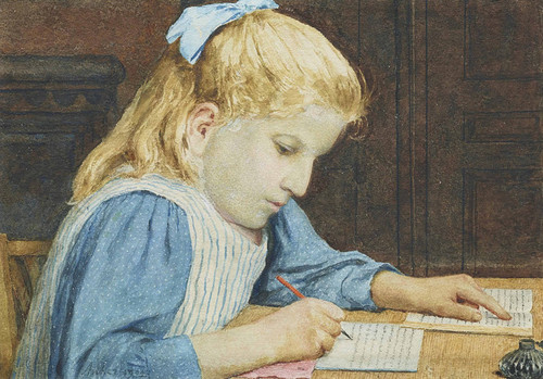 Art Prints of Girl with Homework by Albert Anker