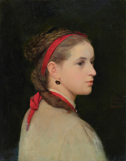 Art Prints of Girl with Red Ribbon, 1868 by Albert Anker