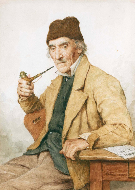 Art Prints of Grandfather with a Pipe, 1906 by Albert Anker