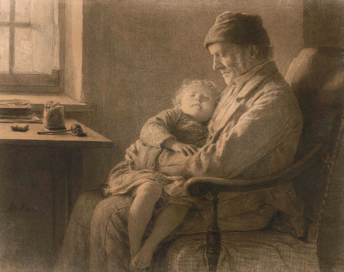 Art Prints of Grandfather with Sleeping Granddaughter by Albert Anker