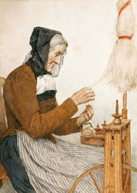 Art Prints of Grandmother at the Spinning Wheel, 1906 by Albert Anker