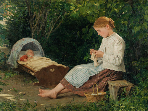 Art Prints of Knitting Girl Watching the Sleeping Toddler by Albert Anker