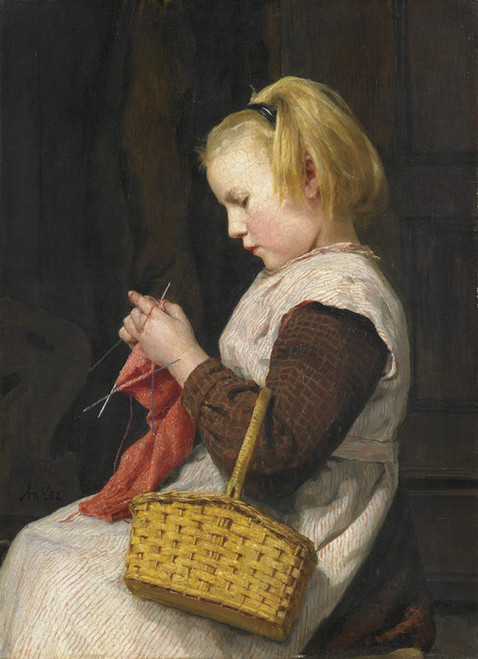 Art Prints of Knitting Girl with Basket by Albert Anker